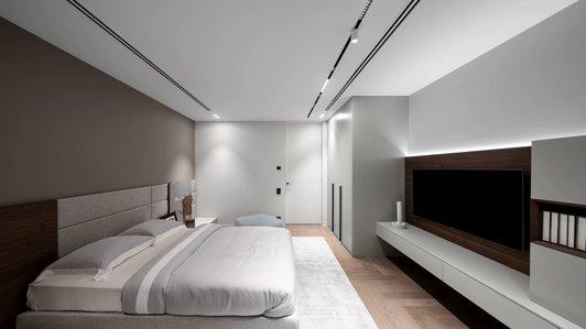 Встроенные трековые светильники в натяжной потолок